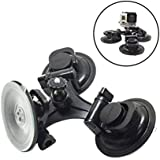 360 Degree Rotating Vehicle-Mounted Triple Suction Cup Mount For GoPro Camera Hero 5/4/3+/3/2/1/Session Xiaomi Yi 4K SJCAM Sucker Camera Bracket Holder For Car Window Windshield Glass