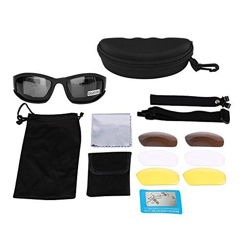 Keenso Motorrad Schutzbrillen Kit UV400 staubgeschützt UV-Schutz Militärschutzbrillen polarisierte Sonnenbrille 4 Objektiv für Radfahren im Freienjagdschießen