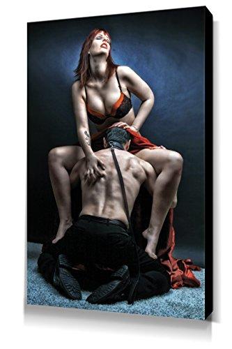 Slave Femdom - Leinwand Bild 60x40cm, Fine Art of Bondage, sexy erotik fetisch BDSM Kunstdruck Wandbild auf Keilrahmen, erotische Wand-Dekoration