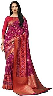 COTTON SHOPY Women's Banarasi Art Silk Saree With Blouse Piece (Cott-913_P