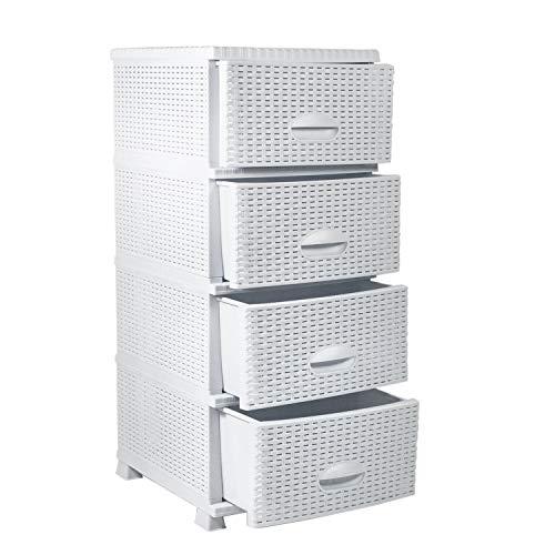 MyShop24h Kommode in Rattan Optik Regal mit Schubladen Kunststoff Rattan Möbel 4 Schubladen Weiß