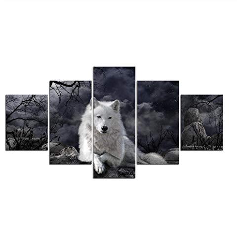 GLORIOUS.YY Bilder Leinwandbilder Fertig Aufgespannt Vlies Leinwand 5 Teilig Wandbilder Kunstdrucke Wandbild Tierischer weißer Wolf 150x80cm(A)