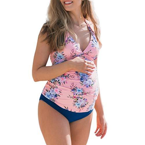 Beikoard Sommer Mutterschaft Bikinis Badeanzug Outfits Mutterschaft Tankini Frauen Drucken Strappy Hängen Badeanzug Bikinis Halter Schwangere - Mutterschaft Outfits
