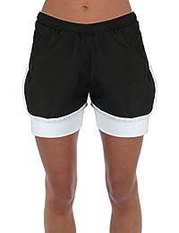 New Womens Ladies Jogging Running Fútbol Gimnasio Deportes transpirable pantalones cortos Active 2en 1para hombre