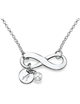 925er Silber Infinity-Halskette mit Initiale und Süßwasserperle- Personalisiert mit einem Buchstaben!