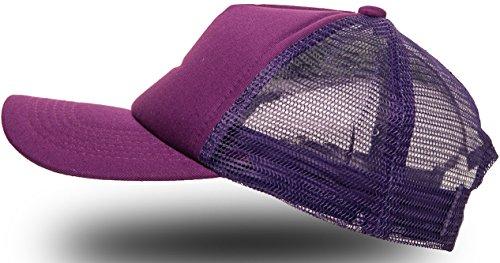 Trucker Cap Mütze Classic Happy für Herren und Damen, One Size Snapback (Purple)