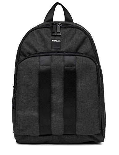 Replay Men's Men's Black Backpack 100% Polyester Schwarz (Black)