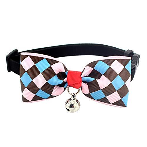 Siwanm Hundehalsband mit Glöckchen und Schnalle für kleine Hunde und Katzen, Blau kariert, für Hochzeit, Urlaub, Kostüm, Zubehör, verstellbare Größe: 18,3-30 cm