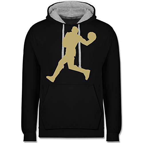Shirtracer Basketball - Basketballer Gold - M - Schwarz/Grau meliert - JH003 - Kontrast Hoodie - Hoodie Lime Männer Green