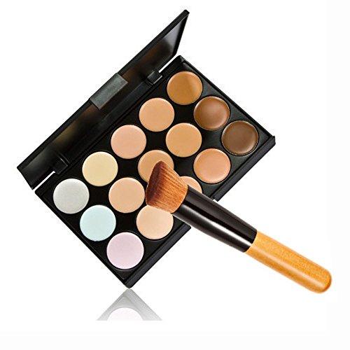 Mode Base New 15 couleurs crème Contour visage Maquillage Correcteur Palette + Brosse de Poudre