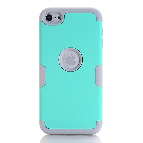 iPod Touch 6Fall, iPod Touch 5Fall, 3in1Hybrid Drei Layer stoßfest Fullbody Schutz Drop Widerstand Silikon Hard Schutzhülle für Apple iPod Touch 56. Generation, Aqua+Gray (Ipod 5 Touch Aqua Fällen)