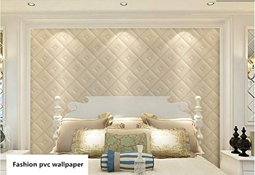 HHKX100822 Tapete 3D Poster Decal Tapcovering Simple European Stereo Soft Bag Diamond Lattice Tv Bedroom Classic Background Tappaper 5.3/. C -