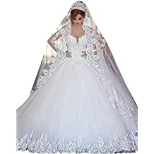 Changjie Mujeres Vestido de novia de manga larga Apliques de encaje Sin mangas largas Vestido de