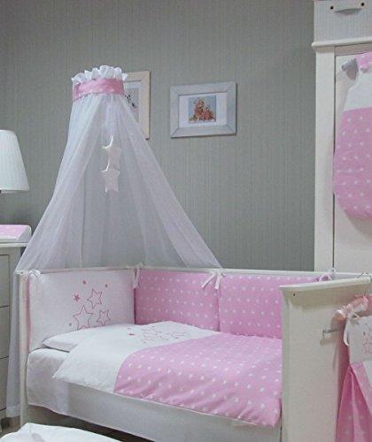 Babymajawelt® Baby Bettwäsche Set, Bett Set 4 tlg. VOILE fürs BABYBETT 70x140 cm, Bettwäsche 100x135, Nestchen, Himmel Voile (Baldachim, Moskito) (STARS rosa)