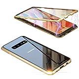 Jonwelsy Cover per Samsung Galaxy S10 Plus (6,4 Pollice), 360 Gradi Anteriore e Posteriore Vetro Temperato Trasparente Custodia, Tecnologia di Adsorbimento Magnetico Bumper Metallo