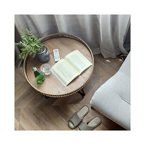 End Tables Beistelltische Rattan Freizeit Rack kleinen runden Tisch for Schlafzimmer Wohnzimmer Home Office, einfach zu montieren 0711 (Size : 60X46CM) - Schlafzimmer-rattan-tisch