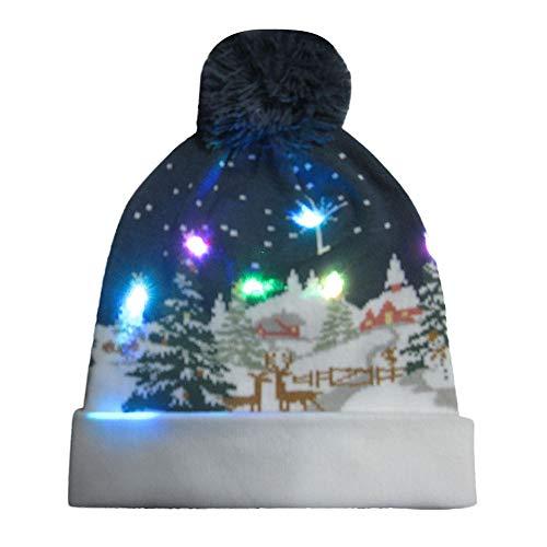 (Amphia Weihnachtsmütze - Glasfaser-Lichtkappe - LED Leuchten Beanie Mütze Strickmütze für Männer Frauen Jungen Mädchen Wintermütze)