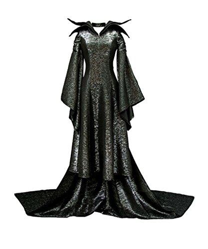 Prinzessin Kleid Märchen Kostüm Cosplay Halloween Fasching Hexe Kleider Erwachsene Schwarz (Halloween Prinzessin Kostüm Märchen)