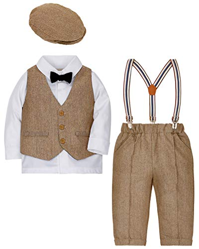Zoerea 4tlg Baby Jungen Bekleidungssets Hemd + Hose + Weste + Hut Fliege Krawatte Kinder Anzug Gentleman Festliche Hochzeit Langarm Body für Frühling Herbst (Baumwolle Smoking)