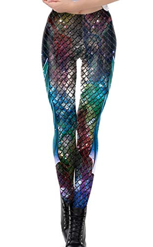 DELEY Damen Mädchen Kreative Mode Gestaltung Leggins Enge Hosen Stretch Strumpfhose Leggings Fisch-Skala-1 (Lustig Arbeitsplatz Kostüm)