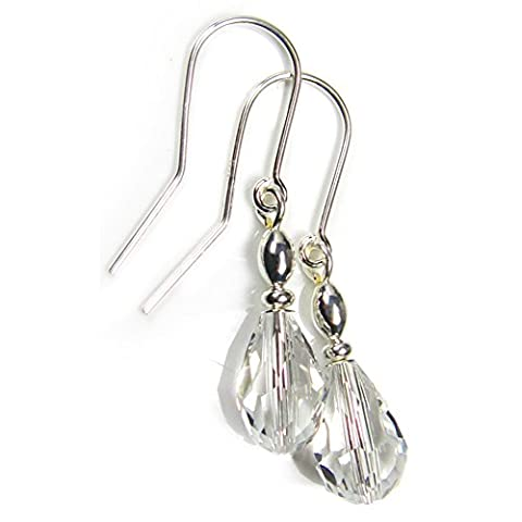 Effacer Boucles d'oreilles en verre cristal goutte Argent sterling oreille Fils Coffret cadeau par Diosa Jewellery
