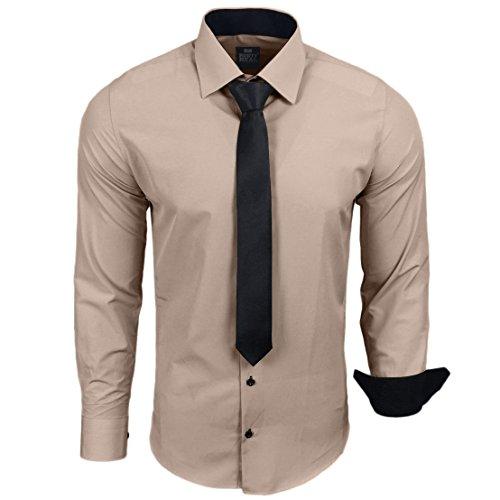 Rusty Neal R-44-KR Herren Kontrast Hemd Business Hemden mit Krawatte Hochzeit Freizeit Fit, Farbe:Beige;Größe:XL