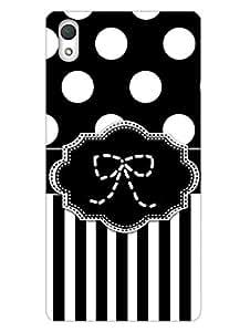 Sony Z2 Back Cover - Monochrome Polka Stripes - Bow - So Girly - Designer Printed Hard Back Shell Case