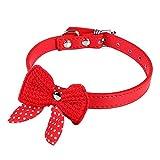 KDSANSO Weich und bequem Hundehalsband mit Niedlichen Bogen PU-Material Sicherheit und Komfort für Haustiere rot 42 * 2cm