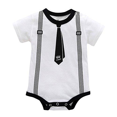 Baby Junge Kleidung Outfit, Honestyi Kleinkind Kind Kinderbaby Jungen Druck Kleidung beiläufiger Spielanzug Playsuit Overall (Weiß,)