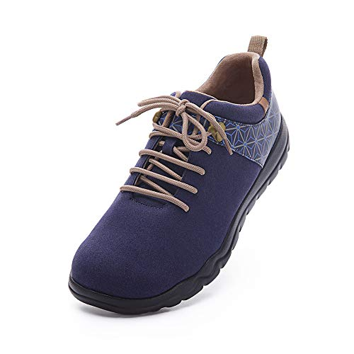 UIN Zapatilla Hombre Quebec Azul Zapatos de Cordones para Caminar con Zapatillas de Viaje 43