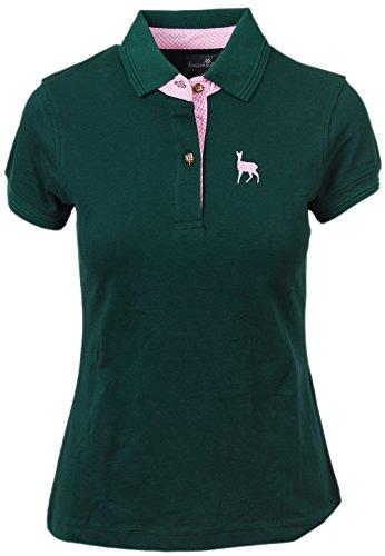 kaiserkindt. Trachtenpolo-Shirt Damen, Pique-Baumwolle und Elasthan, Polo-Shirt in tannen-Grün, mit Hirsch-Stick Rosa, Alle Größen (S, Grün)