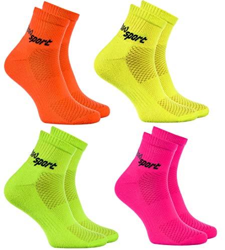 Rainbow Socks - Damen Herren Neon Sneaker Sportsocken - 4 Paar - Orange Grün Gelb Rosa - Größen: EU 44-46