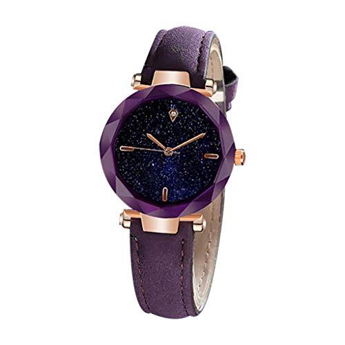 XZDCDJ Damenuhren Erwachsene Analog Quarz Uhr Fashion Armbanduhren Klassiche Uhren Einfache und Elegante luxuriöse sternenklare Zifferblatt konvexen Spiegel Lederband zu sehen -