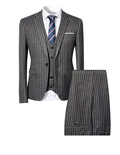 HOTK Herren 3 Stück Bräutigam Smoking grau Nadelstreifen Peak Revers Slim Fit Business Party (Pantalon Homme Kostüm)