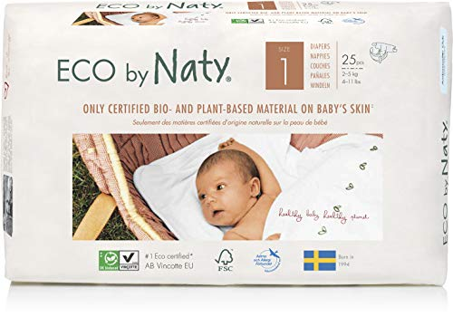 Eco by Naty, Taille 1, 100 couches, 2-5kg, Soit UN MOIS d'utilisation. Couche écologique fabriquée à partir de fibres végétales, 0% de plastique (issu du pétrole) au contact de la peau de bébé.