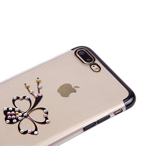 Paillette Coque pour iPhone 7 Plus/8 Plus,iPhone 8 Plus Coque Silicone Étui Ultra Mince Housse, iPhone 7 Plus Souple Coque Etui en Silicone, iPhone 7 Plus Silicone Case Soft TPU Cover, Ukayfe Etui de  Noir-trèfle