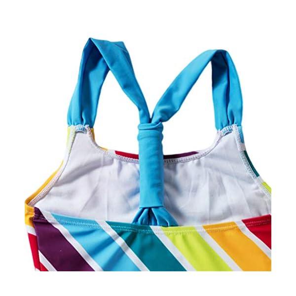 Heetey - Traje de baño para niña, Bikini para niña, diseño de Rayas Multicolor con triángulo y Hombros Anchos 5