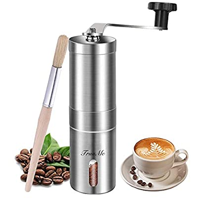 Manual Coffee Grinder, Burr Coffee Grinder, Stainless Steel Coffee Grinder, Adjustable Ceramic Conical Burr, Ideal for Home, Office and Travelling, Spices Brush by Manual Coffee Grinder-01