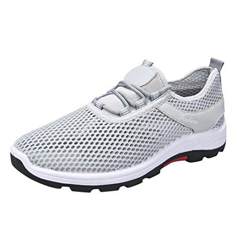 FNKDOR Herren Damen Laufschuhe Sportschuhe Leichte Sport Lauf Atmungs Mesh Schuhe Unisex Sneaker (41 EU (CN:42), Grau)