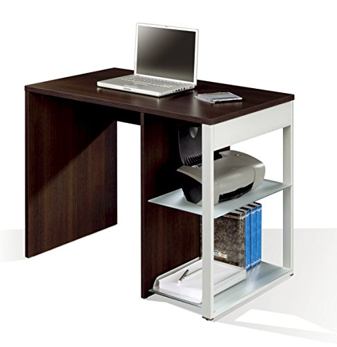 Mesa de oficina, ordenador o escritorio en color wengue, pata lateral metalica y estantes regulables 100x60x75