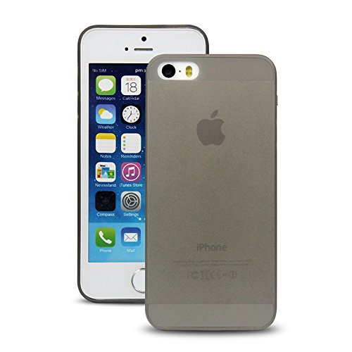 Bluecase iPhone 7 (4,7 Zoll) schwarze Hülle PP Ultra dünn Slim Case Schutzhülle Silikon Case Ultradünn Durchsichtig Transparent Matt schwarz schwarz matt