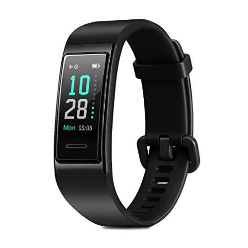 CHEREEKI Fitness Armband, Wasserdicht IP68 Fitness Tracker mit Pulsmesser Farbbildschirm Fitness Uhr Aktivitätstracker Schrittzähler Uhr Smartwatch SMS Anruf Beachten für Damen Herren (Schwarz)