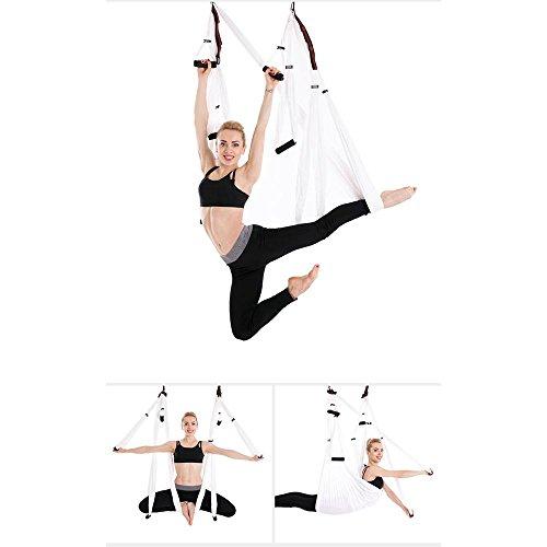 Indoor-antenne Fliege (Anti-Schwerkraft Antenne Fliegen Hängematte Yoga Indoor Fallschirm Tuch Hängematte Keine Dehnung mit 6 Griffen, 250 * 150cm , white)