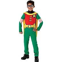 Ragazzi Robin costume. Occhio maschera, tuta con mantello attaccato e cintura. Grandi 8-10 anni