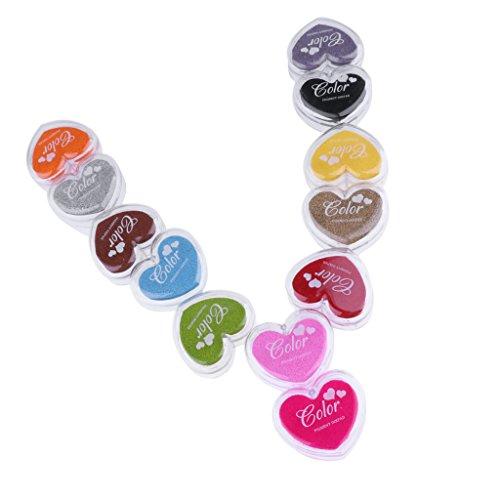 Gazechimp Lot De 12 Pcs Tampon à Encre Multicolore Pour Papier D'Emballage Etiquette Cadeaux DIY Décor Créatif