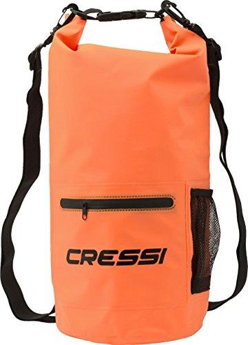Cressi Sub S.p.A. Dry Bag with Premium Sac 100% Étanche Imperméable avec Poche Zip et Porte-Bouteilles, Flottant Haute Qualité Mixte Adulte, Orange, 20 L