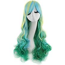 MapofBeauty 70cm/28 pulgada largo rizo seorita rizo anime traje Pelucas (verde/Ligero