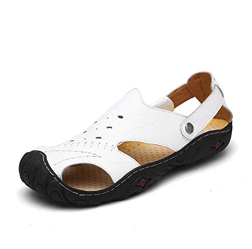 Onfly Männer Jungen Britischen Stil Geschlossene Zehe Leder Beiläufig Sandalen Hausschuhe Rutschfest Atmungsaktiv Gehen Draussen Sandalen Wasser Schuhe Lässige Sneakers Strandschuhe Athletische Sandal White