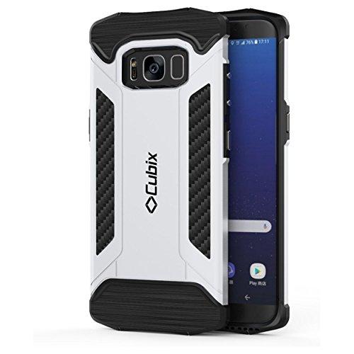 Cubix® Tough Armor Case For Samsung Galaxy S8 Hybrid Shockproof Case for Samsung Galaxy S8 (Silver)