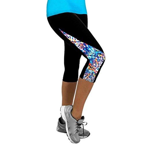 Femme Leggings de Sport Pantalons Jogging Yoga Collants,Powerful-LOT Femmes Dames Floral Sports Yoga Fitness Leggings Gym 3/4 Pantalon Court Mince (04, M)